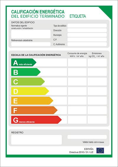 etiqueta de certificación energetica